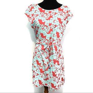 NWT! Boden | Pink Teal Floral Dress Cinch Waist M